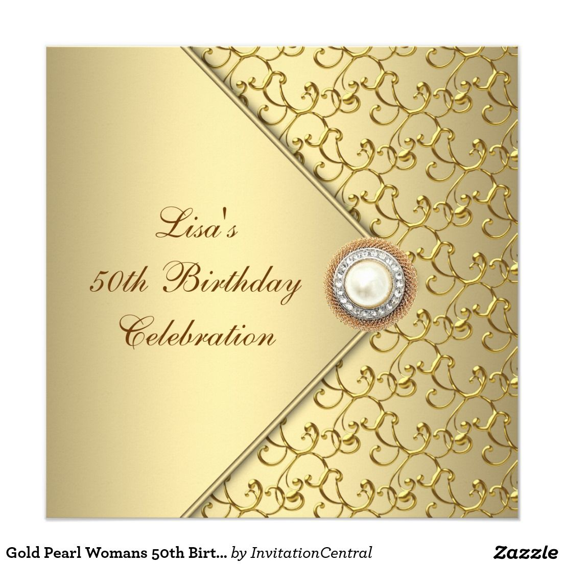 Gold Pearl Womans 50th Birthday Party Invitation