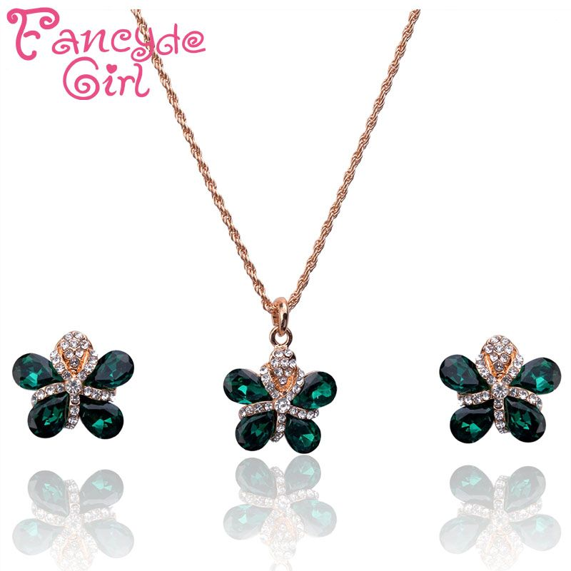 Fancyde Girl Six Color Crystal Flower Pendant Necklace Stud Earrings Gold Color Jewelry Sets For Women Attend Party 2016