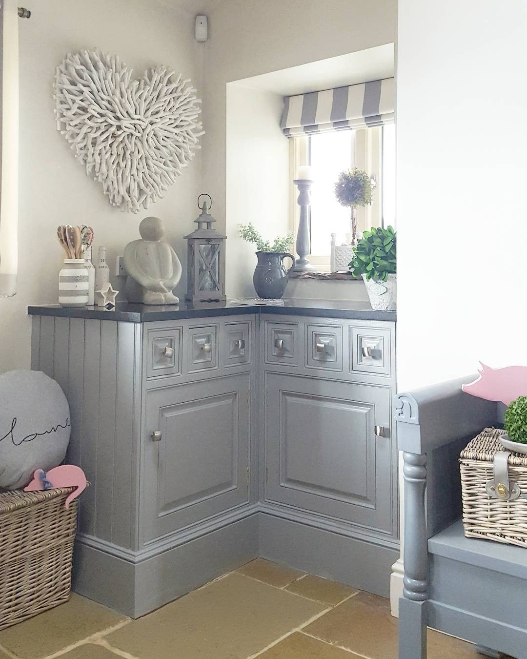 Grey Kitchen Country Striped Blind Home Accessories