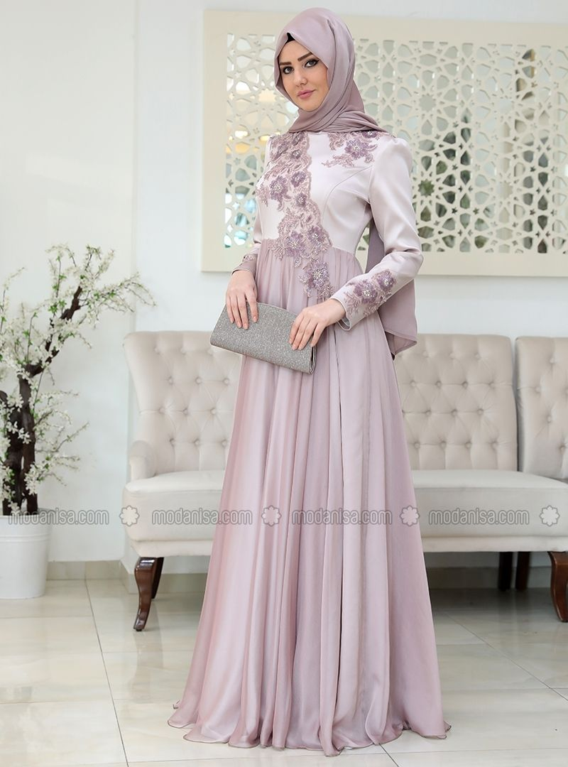 032961a9990 Purple - Fully Lined - Crew neck - Muslim Evening Dress - SomFashion ...