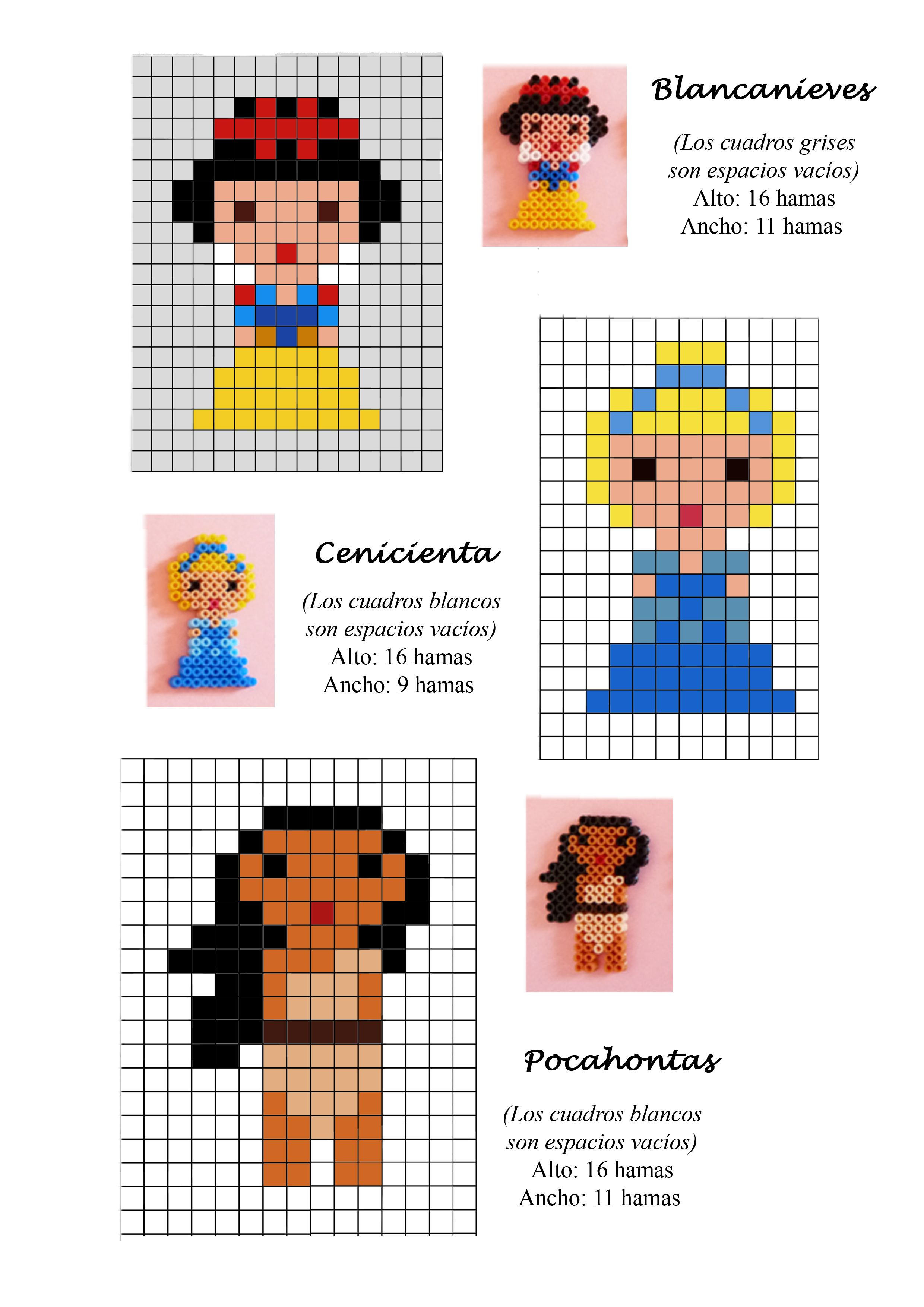 Disney Princess (Snow White, Cinderella, Pocahontas) hama beads ...