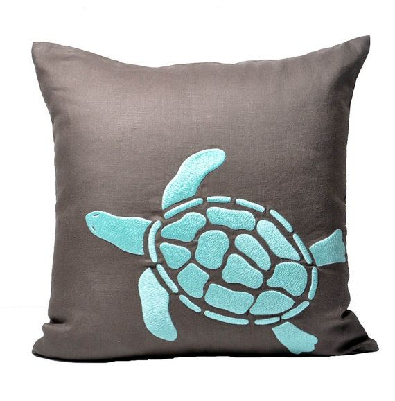Sea Turtle Pillow Cover Taupe Brown Linen Turquoise Sea