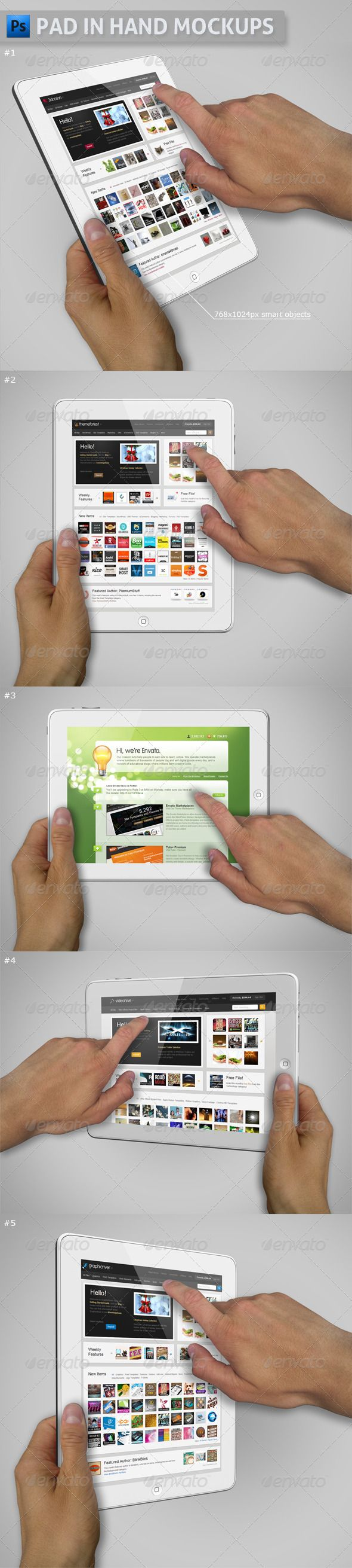 Pad in Hand Mockups GraphicRiver White Pad in Hand