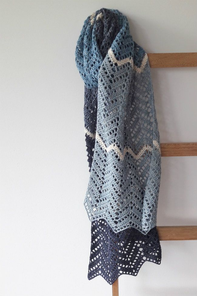 My brand new crochet zig zag shawl. Crochet zig zag shawl, in Denim ...