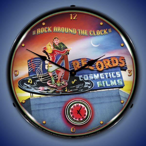 The Timeless Art Work Of Larry Grossman 11 Clocks Rock Around The Clock Wall Clock Light Clock