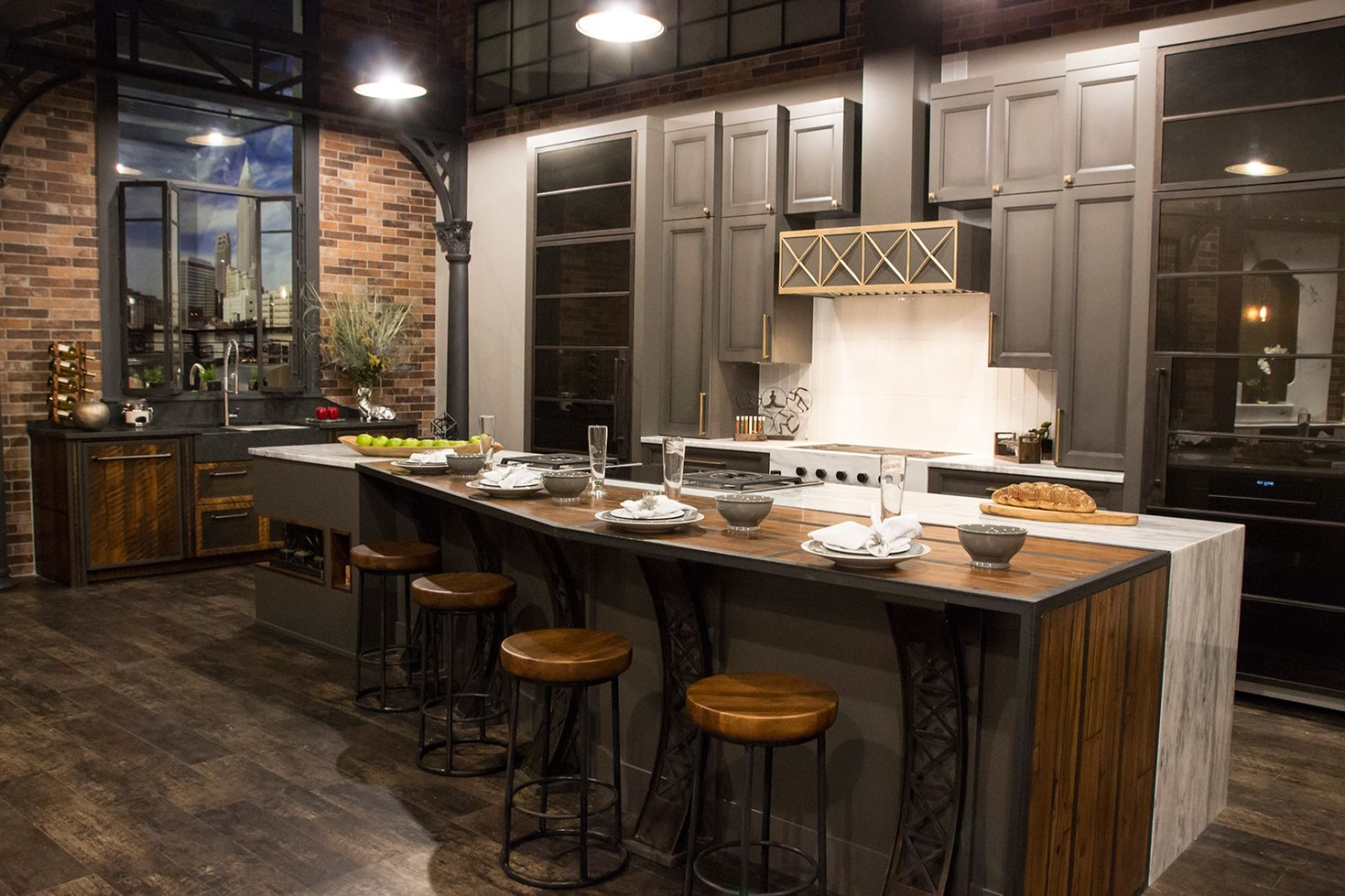 Industrial style kitchen in the new Trevarrow Gallery of