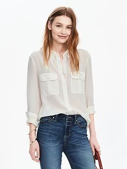 9348358e7e778d Long-Sleeve Silk Utility Shirt