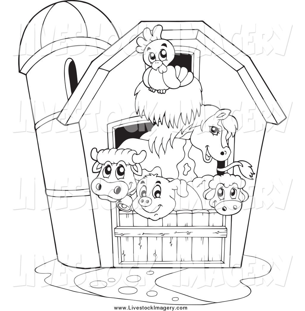 Clip Art of a Black and White Happy Barnyard Animals in a