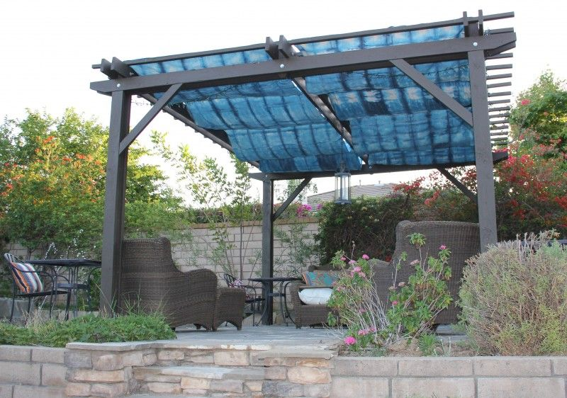 Diy pergola cover with rit and home depot painters cloth