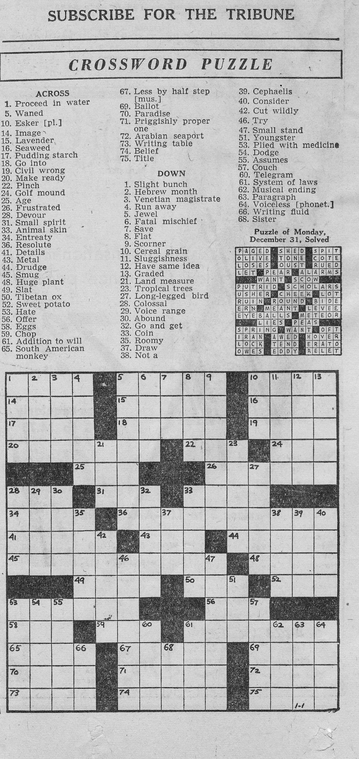 Fan image within printable chicago tribune crossword