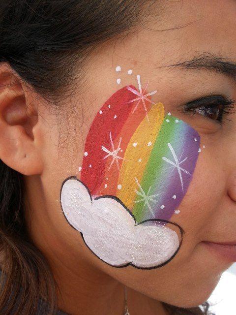 Rainbow And Cloud Easy Face Painting Ideas Simple Face Paint Idea Rainbow Cloud Facepain Face Painting Easy Face Painting Halloween Girl Face Painting