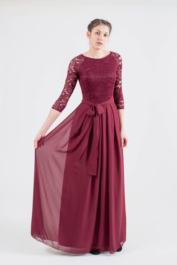5965d630eb4 Long burgundy bridesmaid dress with sleeves. Modest lace formal gown.  Mother of the bride dress. Plu
