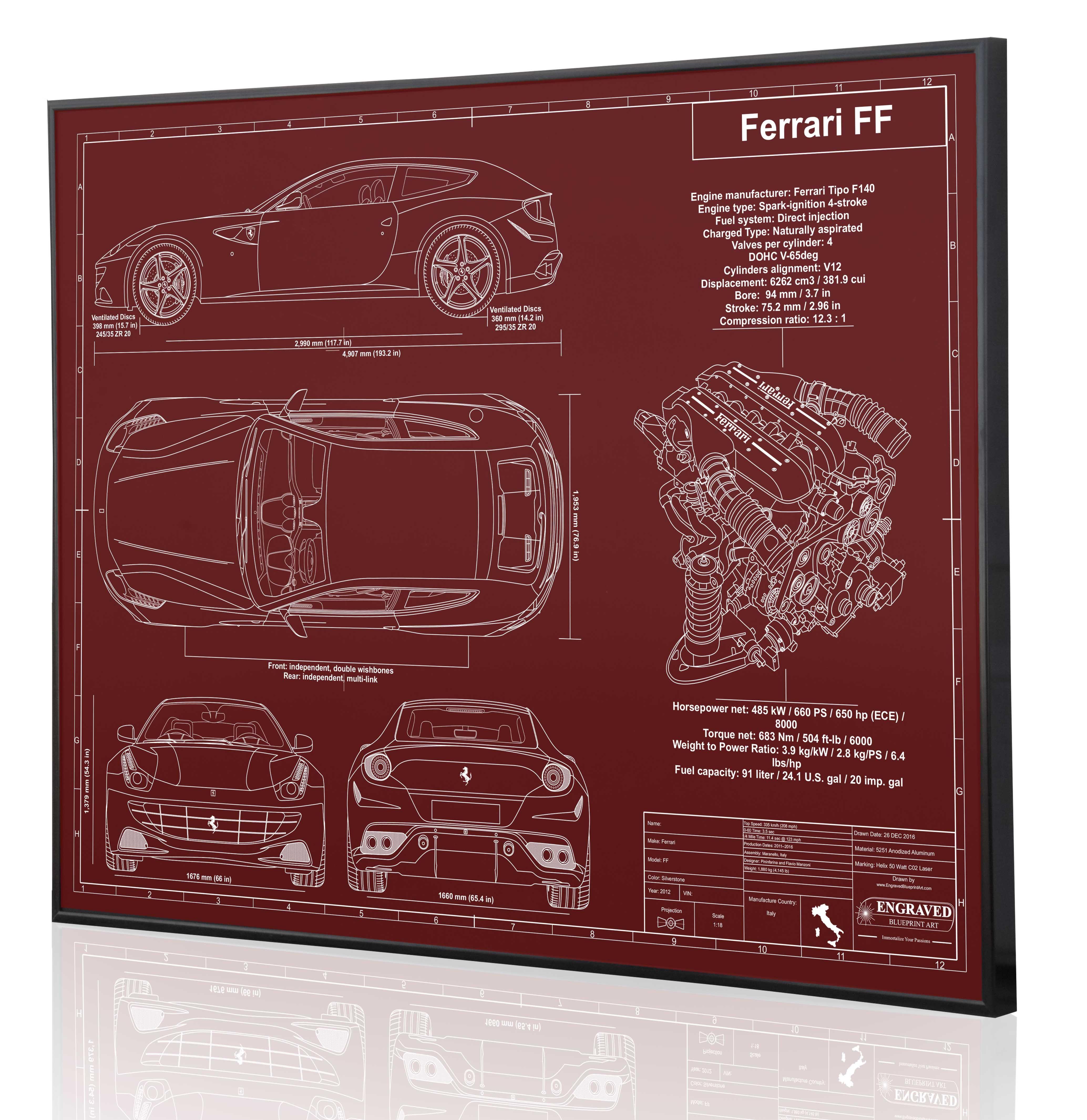 Ferrari ff laser engraved blueprint artwork imoroatilize your custom laser engraved blueprint artwork cars planes ships more malvernweather Gallery