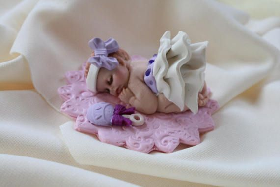 Clay Baby Cake Topper Lavender And White Shower Gift Polymer Ornament Centerpiece