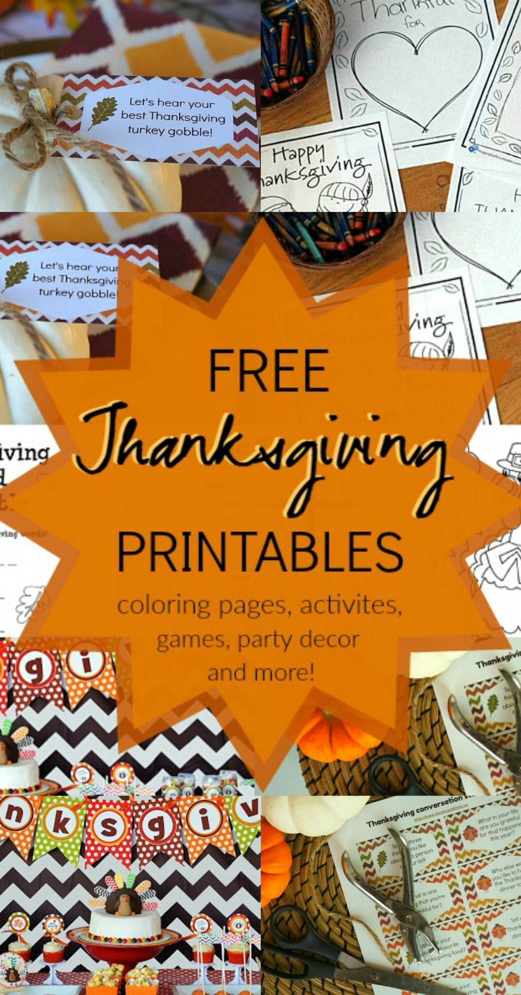 15 Thanksgiving Printable Coloring pages, Party Favors, Decor + ...