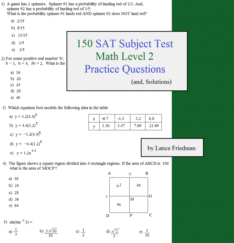150 Sat Subject Test Practice Questions Level 2 This Or That