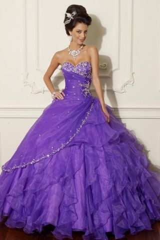 Lilac Ball Gown Silhouette Quinceanera Dress with Sweetheart ...