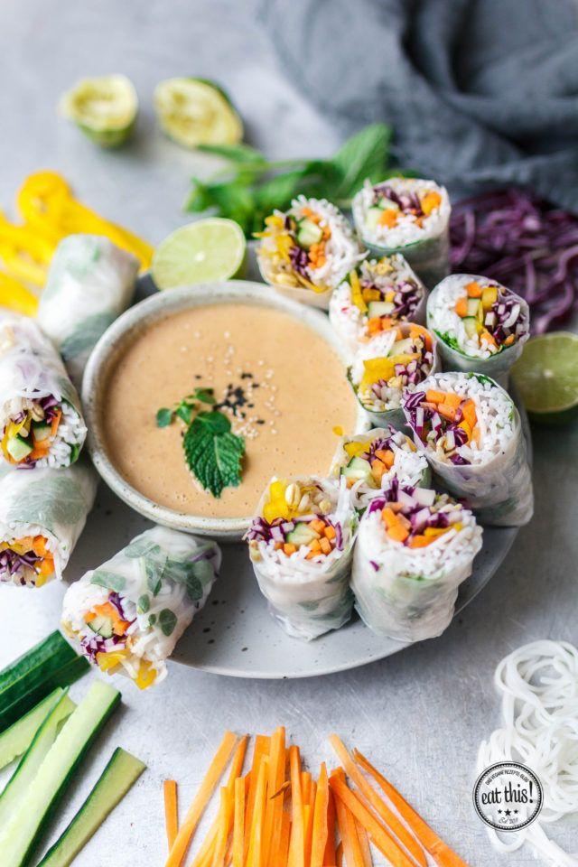 Vegane Sommerrollen mit Erdnuss-Chili-Dip #easyshrimprecipes