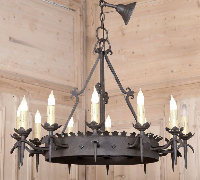 Vintage Gothic Wrought Iron Chandelier Forged From Solid Iron In