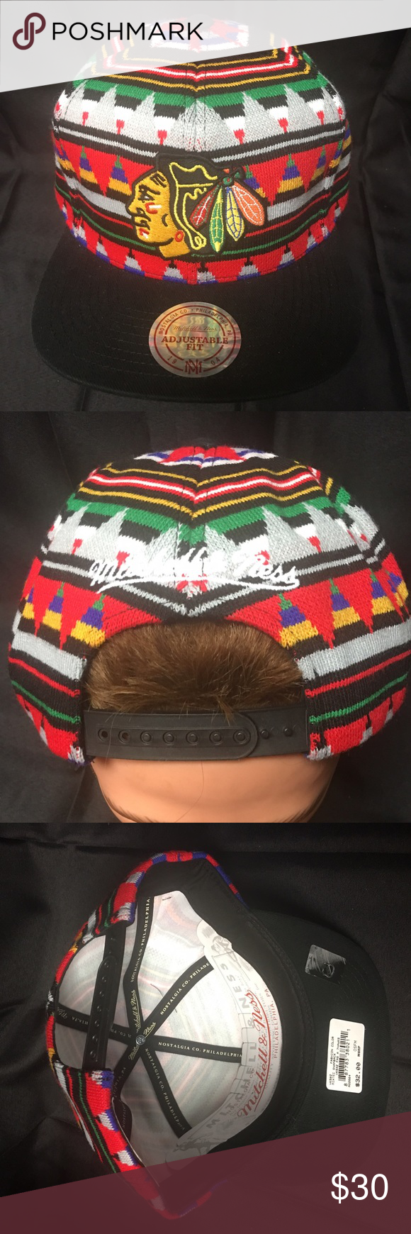 83c5ee6b0c1bf Mitchell   Ness Chicago Blackhawks Aztec Snapback NWT Mitchell   Ness  Chicago Blackhawks Aztec Patterned Snapback Hat. Purchased in Flagship  Store.