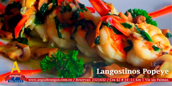 #PlatoRecomendado Langostinos Popeye, preparación con champiñones y espinacas en aceite de Oliva. www.angusbrangus.com.co   #Restaurantes @restorandoco @DegustaColombia @Pasaporte_Vip #almuerzo