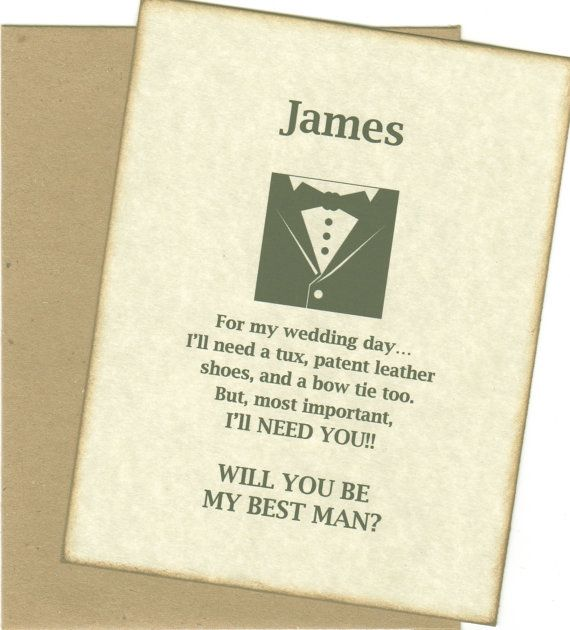 will you be my best man invitation card personalized with envelope