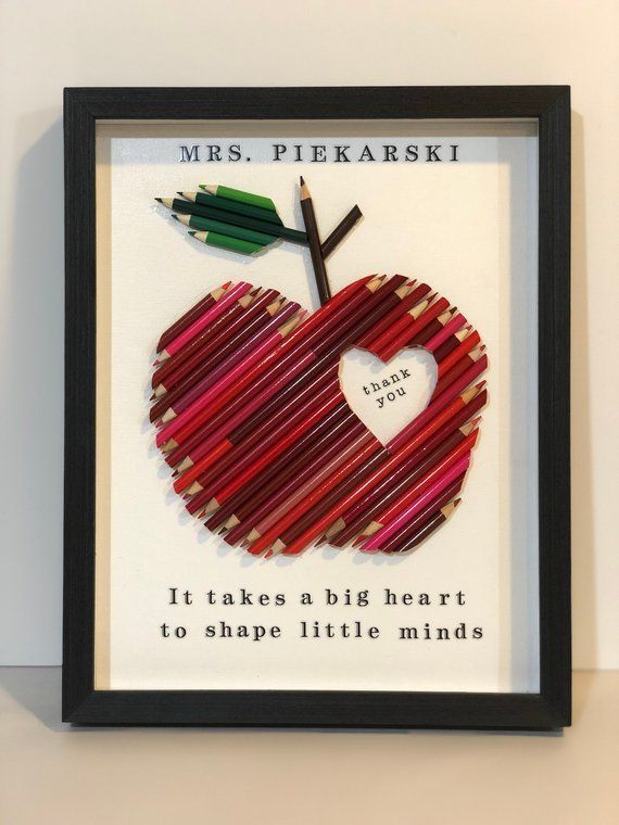Apple Teacher Gift, Framed Red Colored Pencil Personalized Apple, Heart, Custom Teacher Appreciation gift, Large 11 x 14 #teachergifts