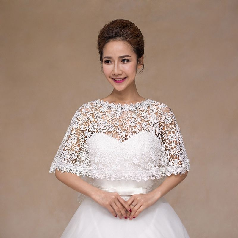 Cheap Shawl Crochet Buy Quality Bolero Wedding Directly From China Shawls Womens Suppliers 2017 Summer White Crystals Lace Shrug