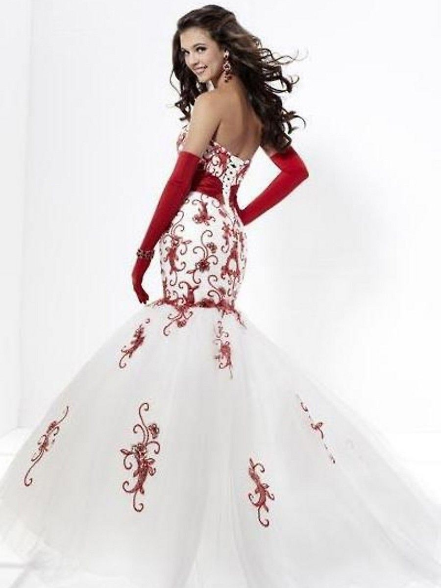 Red And White Ball Gown Red Bridesmaid Dresses White Prom Dress Long Ball Gowns Wedding [ 1200 x 900 Pixel ]