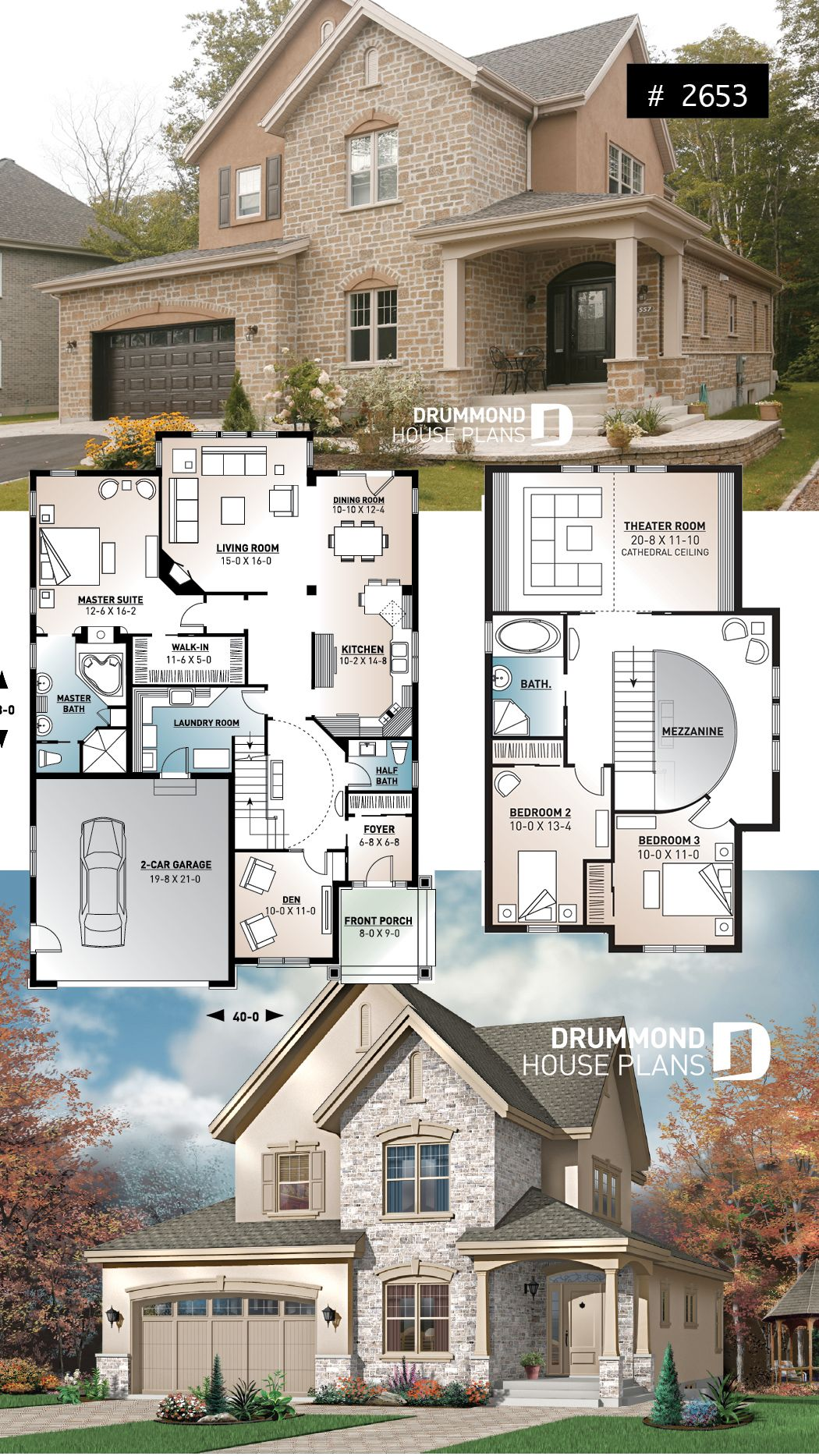 European luxury house plan, 3 to 4 bedrooms, open stairwell ...