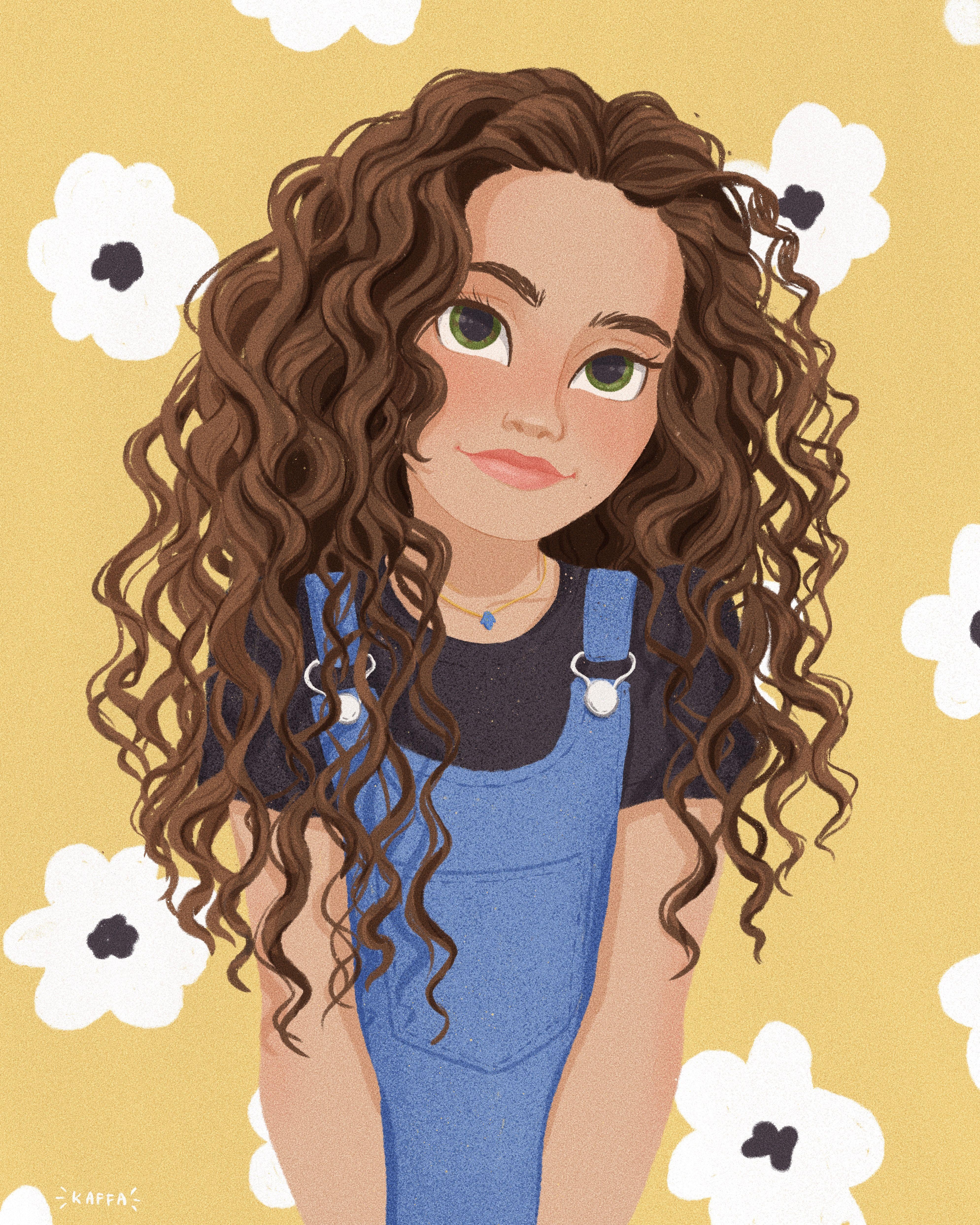 Flower Girl In 2020 Curly Hair Cartoon Anime Curly Hair Girl Cartoon Characters