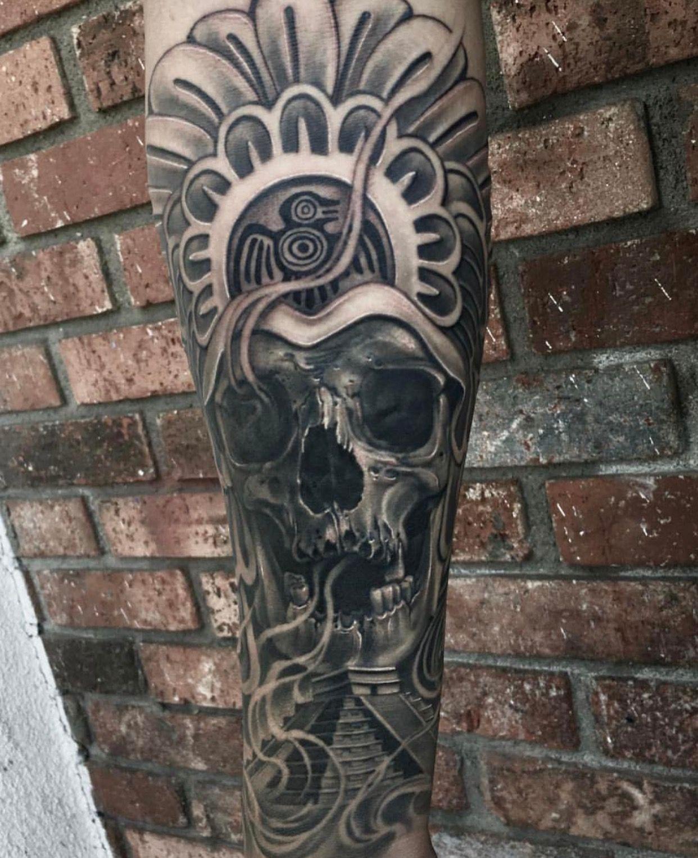 Aztec Temple Tattoo aztec tattoos imagecarlos becerra on sculls   aztec