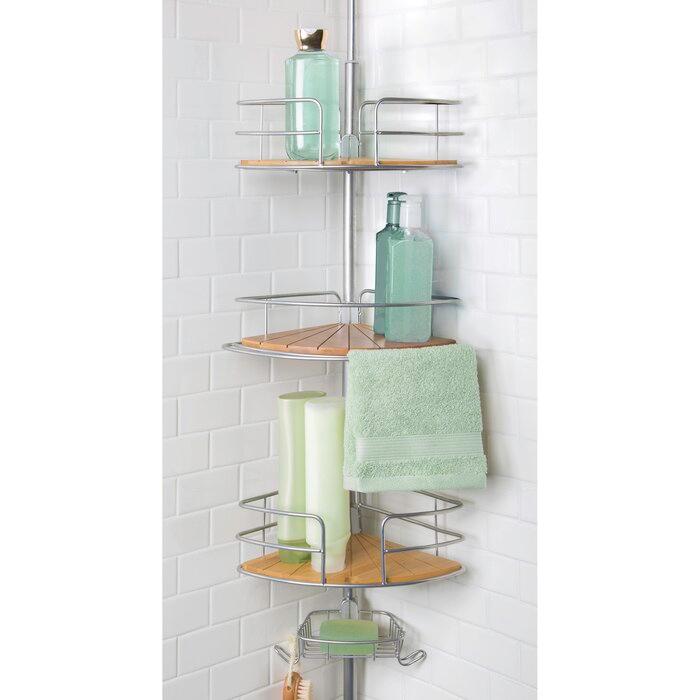 Steel Tension Bamboo Accessory Bath Organizer 3 Shelf With 1 Soap