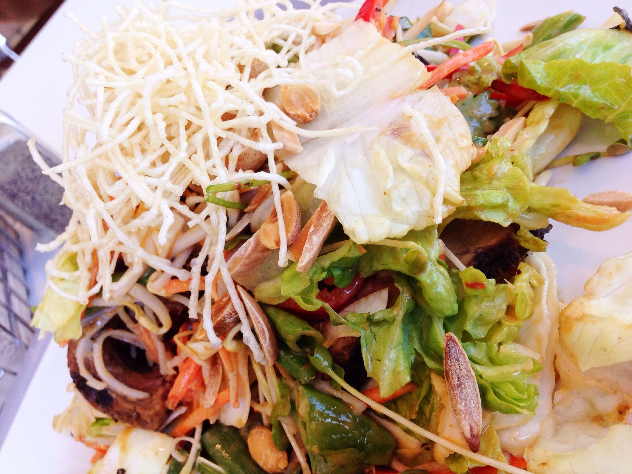 Thai Beef Salad: slices of red curry flank steak tossed with green onions, cabbage, romaine, rice noodles, sugar snaps, red bell pepper, cilantro and carrot, tossed in a warm peanut dressing.