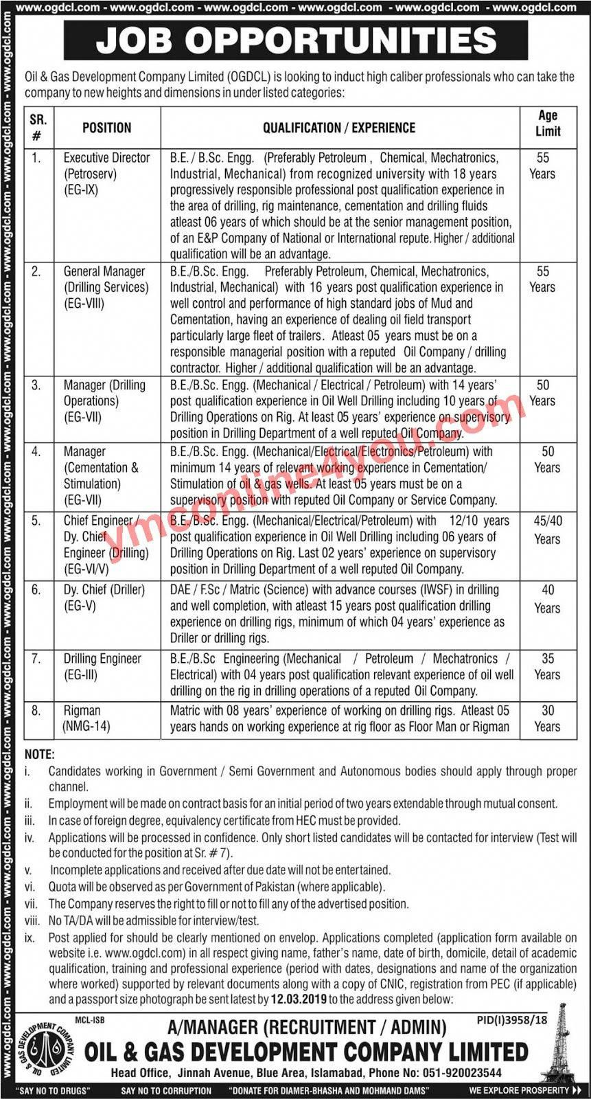 Oil & Gas Development Company Limited OGDCL Jobs 2019 | oil