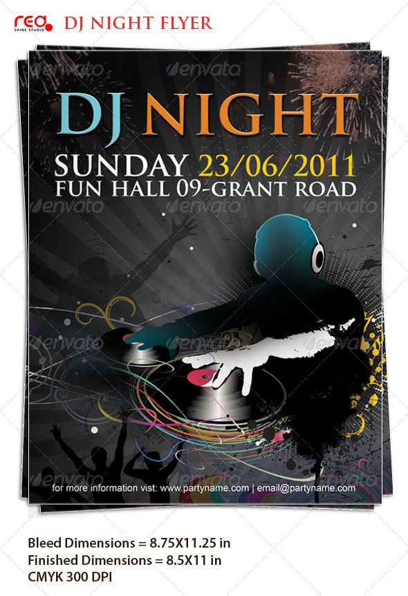Beautiful Dj Night Poster\/Flyer Template Flyer template - fun poster templates