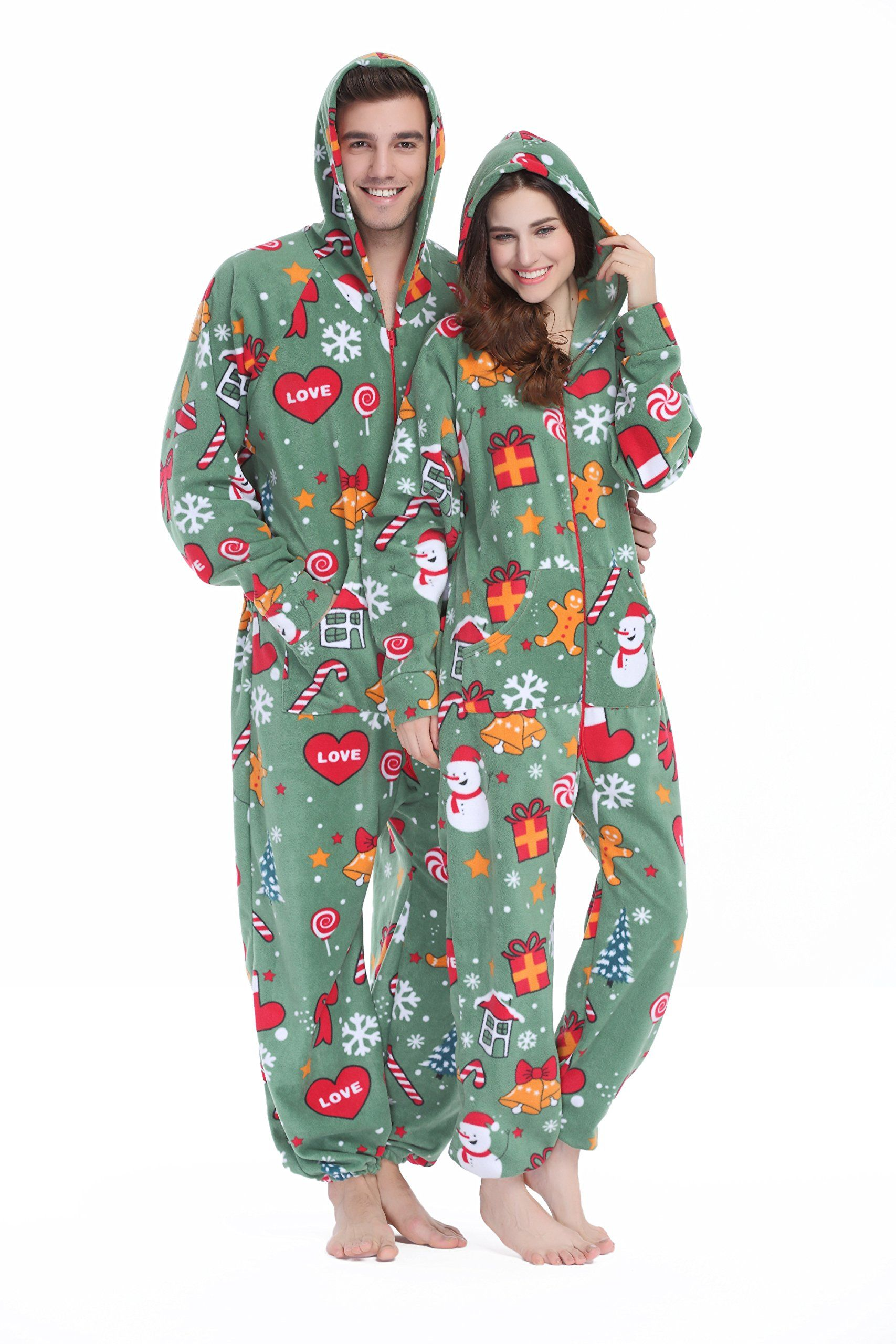 Womens and Mens Hooded Fleece Onesie Pajamas