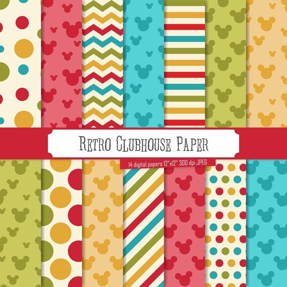 Read the full title Buy 2 Get 1 Free! Retro Clubhouse Inspired Digital Papers, Green, Red, Yellow chevron, polka dot, stripes, head, Mouse, seamless