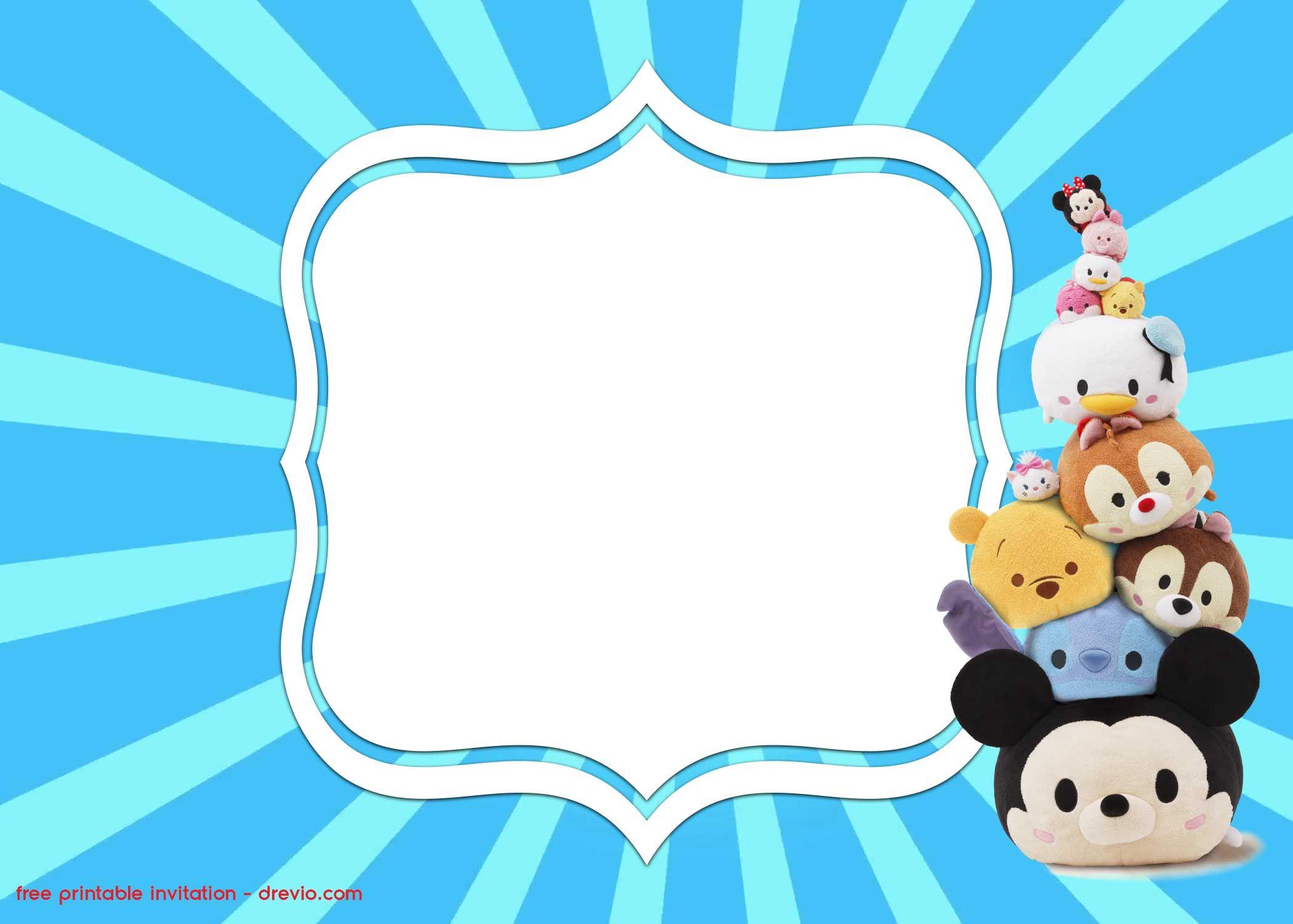 FREE Printable Disney Tsum Tsum Invitation Templates – Mickey and