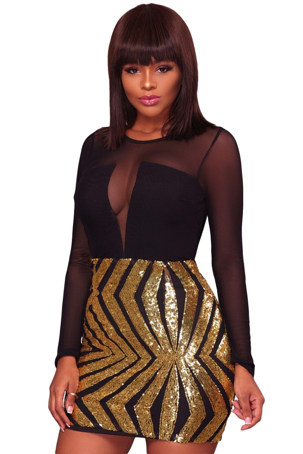 Robe Club Courte Maille Noire Paillettes Or Manches Longues Pas Cher  www.modebuy.com  Modebuy  Modebuy  Or  Noir  simple  mode  style 8486e4326b6f