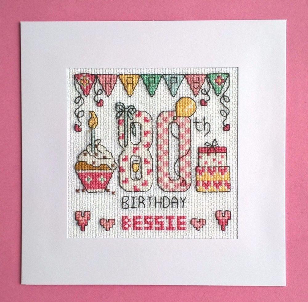 Happy 80th birthday cross stitch card kit cross stitch stitch and happy 80th birthday cross stitch card kit bookmarktalkfo Choice Image
