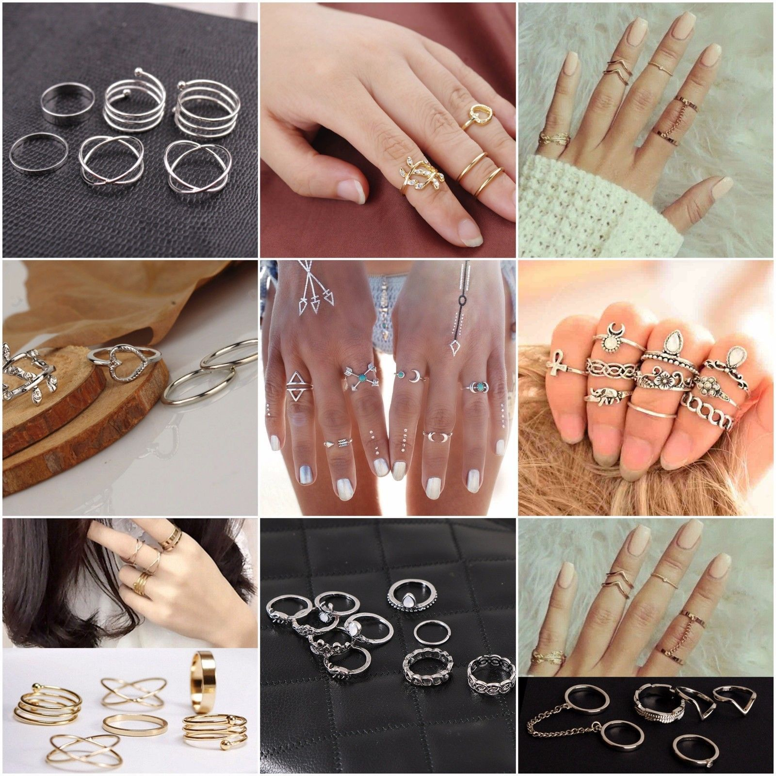 Knuckle Ring Sets Stacking Bands Midi Mid Above Joint Rings Punk ...