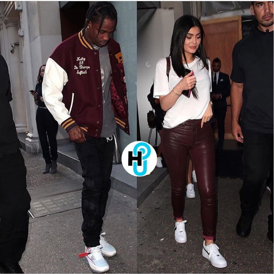 06b394b0cc8849 Travis Scott was seen rocking a Doublet stadium varsity jacket while  enjoying London with Kylie Jenner. The rapper was also wearing a pair of  Off-White x ...