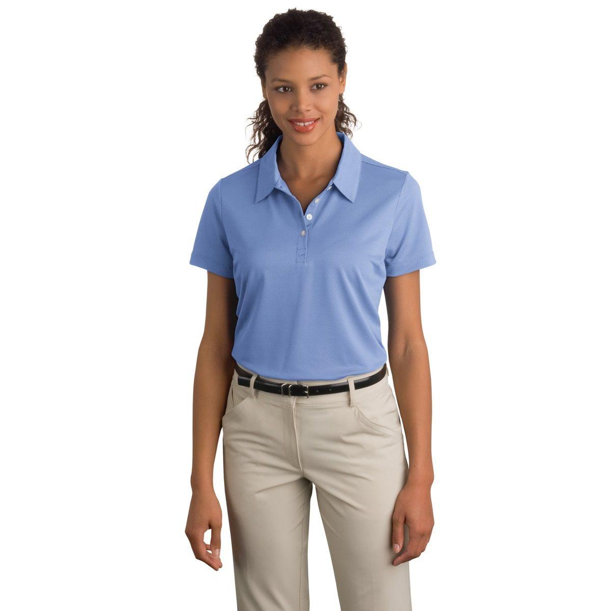 Nike 358890 Ladies Sphere Dry Diamond Polo Light Blueberry Polo Shirt Women Nike Women Sports Shirts