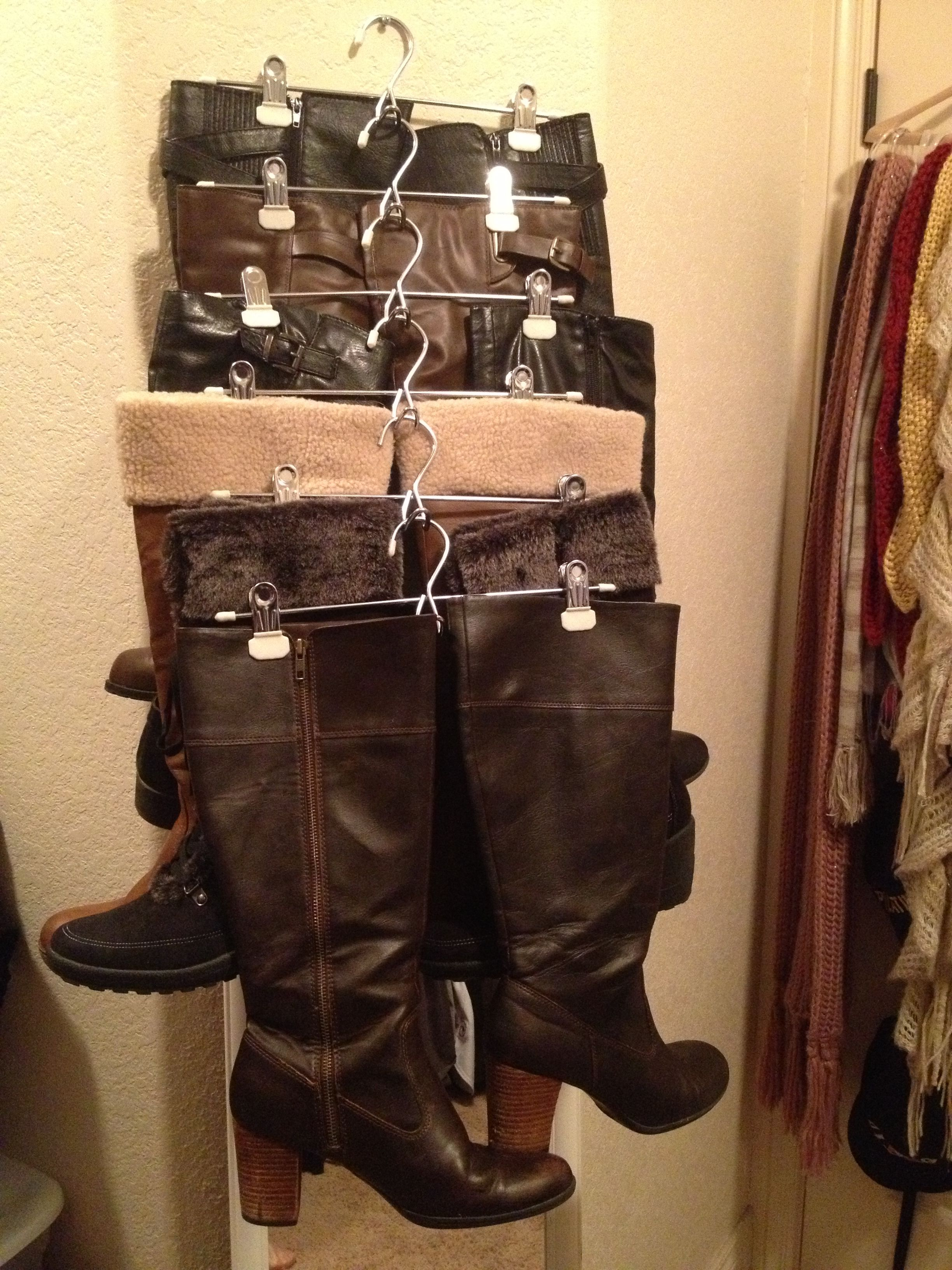 great way to organize your long boots in a small place did this and now i can see all my boots. Black Bedroom Furniture Sets. Home Design Ideas