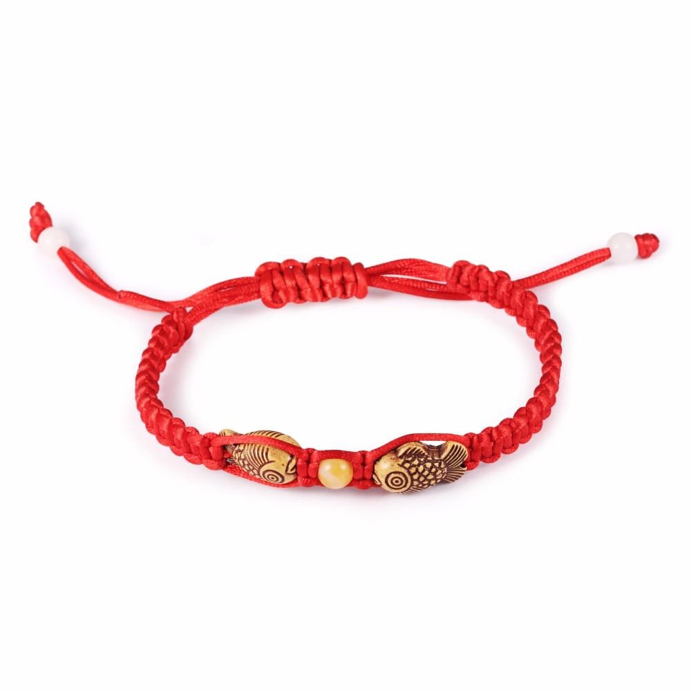 Adjustable red string bracelet with fish design do good charity