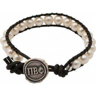 Pi Beta Phi Pearl & Leather bracelet - Jewelry (LOVE THIS!!)