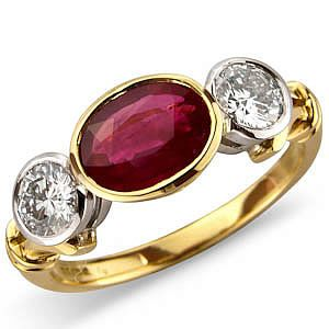 Oval Ruby And Diamond East West Rub Set 3 Stone Ring In