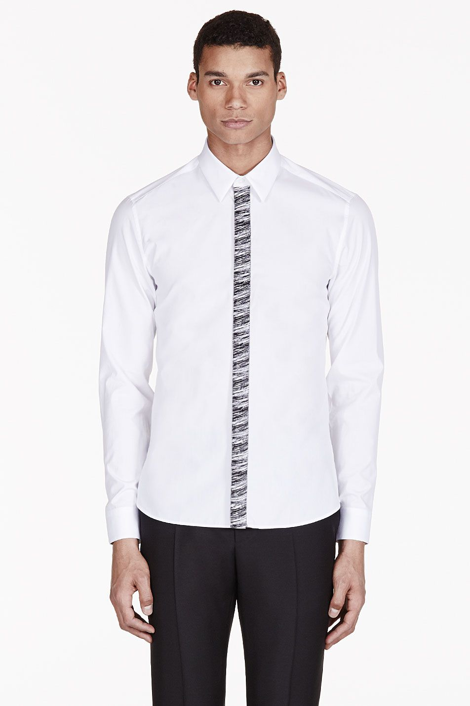 KENZO White Marled Button-Fly Shirt