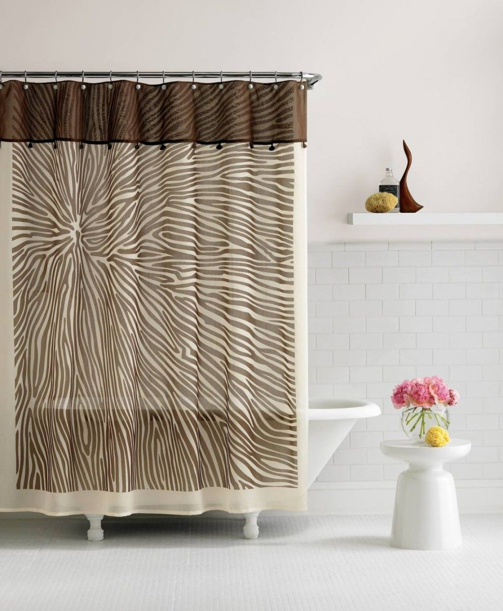 Bathroom 84 Inch Shower Curtain Creamy And Brown Patterned Extra ...